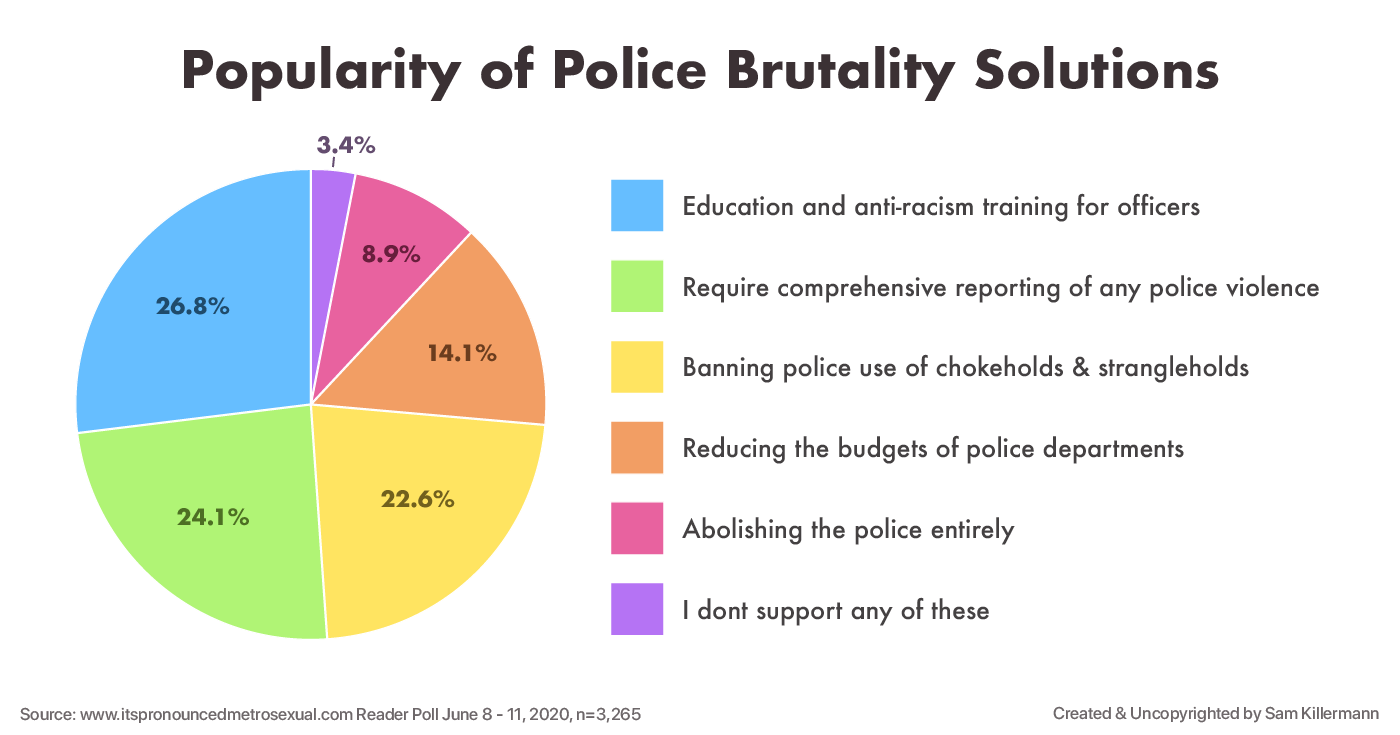 A pie chart showing popularity of police brutality solutions