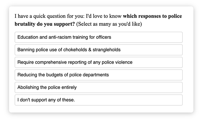 poll showing different policies to end poluce brutality, from education and anti-racism training up to abolishing the police entirely